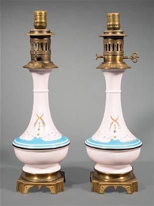 Paris Polychrome and Gilt Porcelain Carcel Lamps