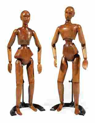 French Carved, Stained Wood Arist Lay Figures
