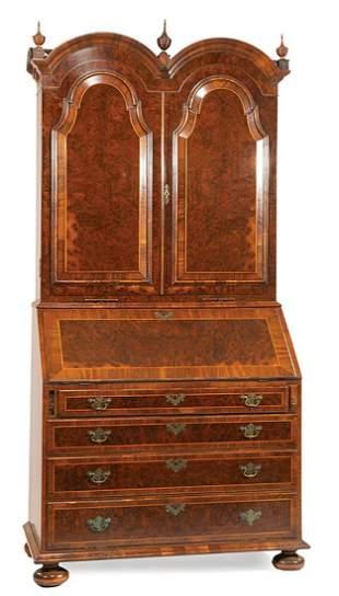 Inlaid Burl Walnut Secretary Bookcase