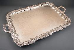 Large Silverplate Footed Tea Tray