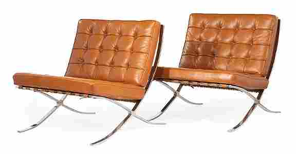 Leather & Stainless Steel Barcelona-Style Chairs