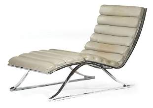 Stainless Steel, Leather Sling Chair & Ottoman