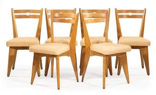 Six Guillerme et Chambron Oak Dining Chairs