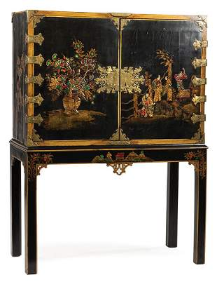 Chinoiserie Lacquered Cabinet on Later Stand
