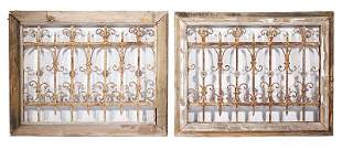 Pair of Wrought Iron Scrollwork Window Grilles