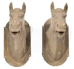 Pair of Cast Iron Architectural Horse Heads