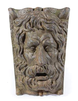 Cast Iron Fountain Wall Plaque of Neptune