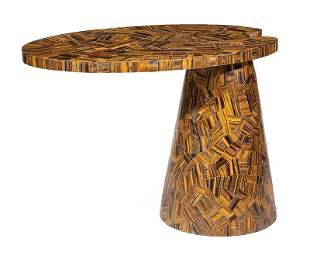 Tiger's Eye Veneered Marble Occasional Table
