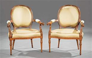Louis XVI-Style Carved Rosewood Fauteuils