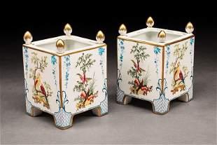 Paris Polychrome and Gilt Porcelain Cachepots