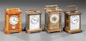 Four Small Antique Carriage Clocks