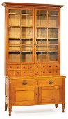 Carved Cherrywood and Pine Apothecary Cabinet