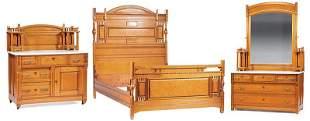 Aesthetic Movement Figured Maple Bedroom Suite