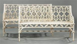 Pair of American Gothic Cast Iron Garden Benches