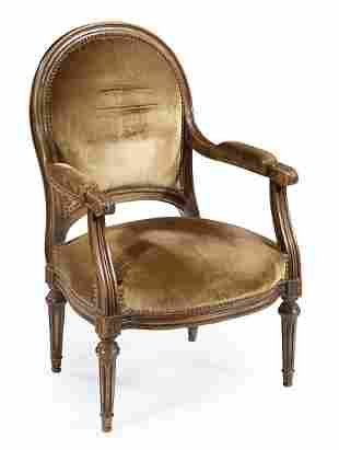 Louis XVI-Style Carved and Painted Fauteuil