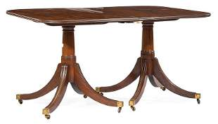 Mahogany Two Pedestal Extension Dining Table