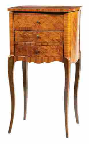 Louis XV-Style Fruitwood Parquetry Poudreuse