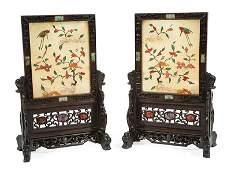 Chinese Soapstone, Hardwood Table Screens