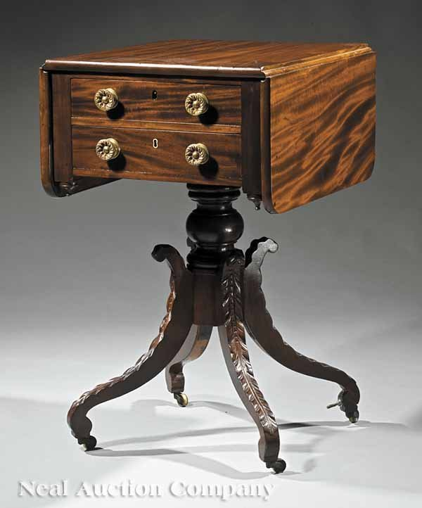 4: A Federal Carved Mahogany Work Table