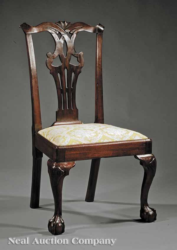 13: American Chippendale Carved Mahogany Side Chair