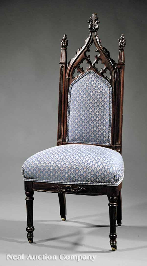24: American Gothic Carved Rosewood Side Chair