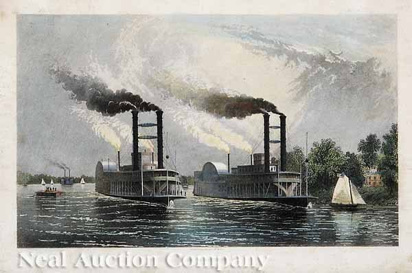 323: Group of Eight Antique Steamboat Prints