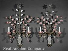 407: Rock Crystal and Rose Quartz Two-Light Sconces