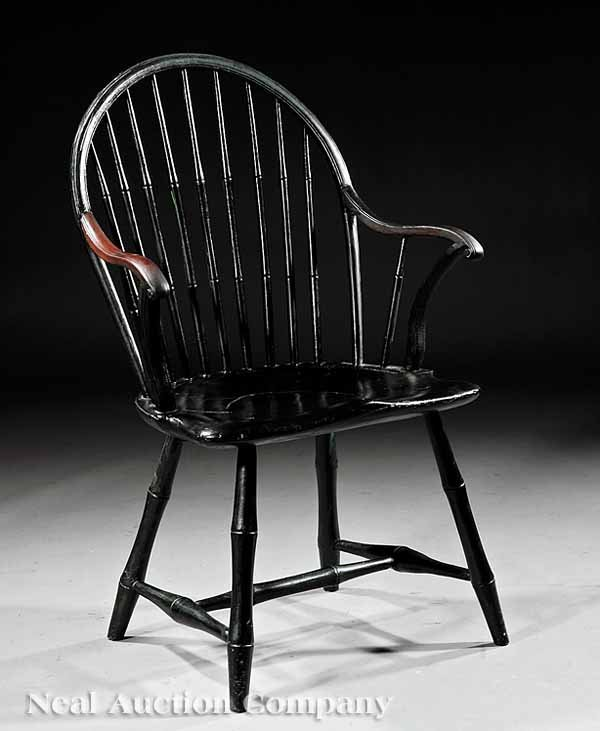 852: American Black and Green Painted Windsor Chair
