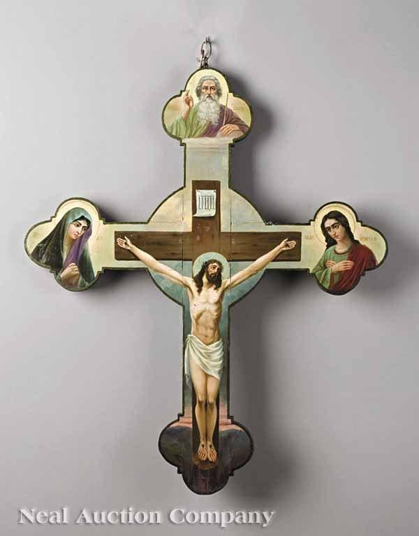 853: Ukrainian Paint-Decorated Processional Cross
