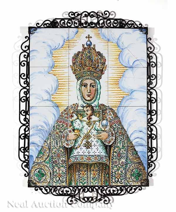 857: Talavera Tile Plaque of Madonna and Child
