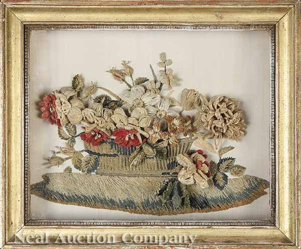 858: French Chenille Work Embroidery Basket of Flowers