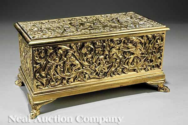 859: French Chased Brass Jewelry Box