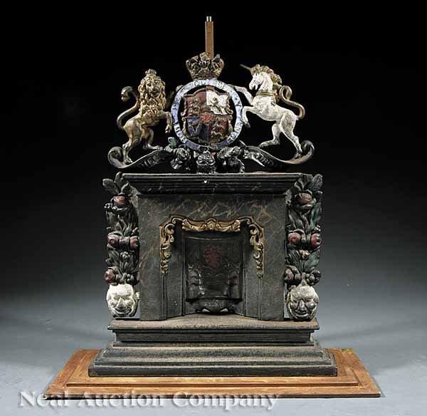 861: English Polychromed Cast Iron Fireplace Model