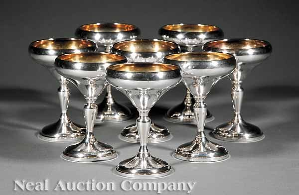 864: Eight American Sterling Silver Dessert Coupes
