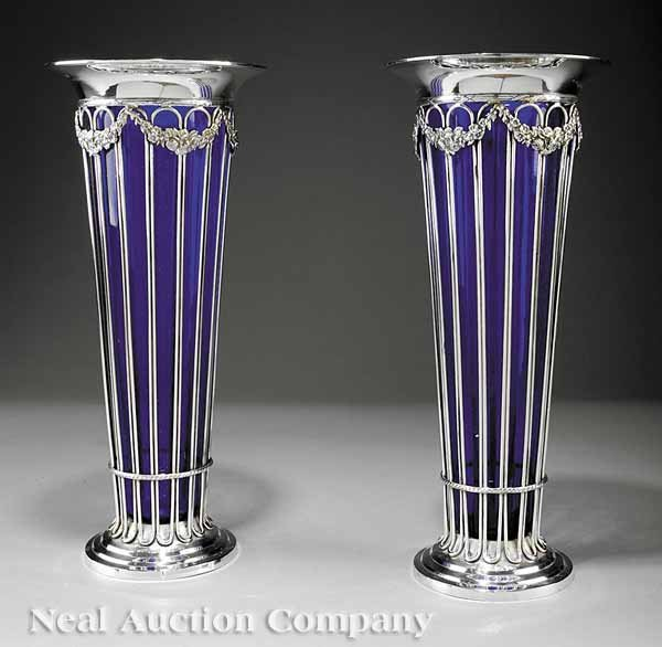 865: Pair of Silverplate Wirework Trumpet Vases