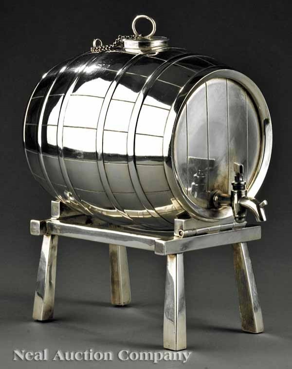 866: Decorative Silverplate Whiskey Barrel on Stand