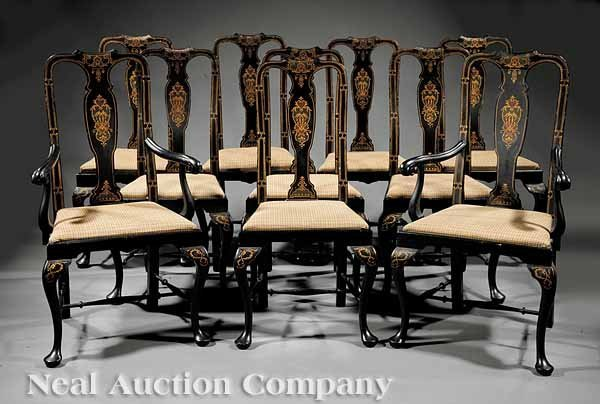 871: Ten Queen Anne-Style Japanned Dining Chairs