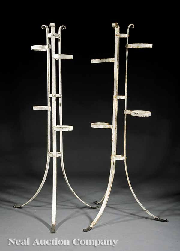 873: Continental Painted Wrought Iron Plant Stands