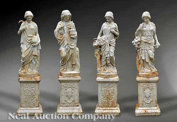 874: Cast Iron Garden Sculptures of Four Seasons