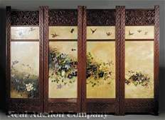 1158 Carved Oak and Painted Canvas Four Panel Screen