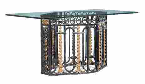 Wrought Iron and Glass Dining Table