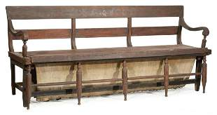 Carved Walnut Convertible Day Bed/Bench