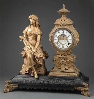 Ansonia Gilt Meal Figural Clock
