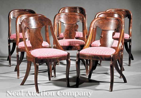 "0001: Eight American Mahogany ""Gondola"" Dining Chairs"