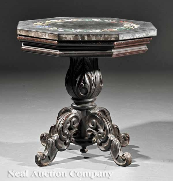 0002: A Carved Mahogany and Pietra Dura Side Table