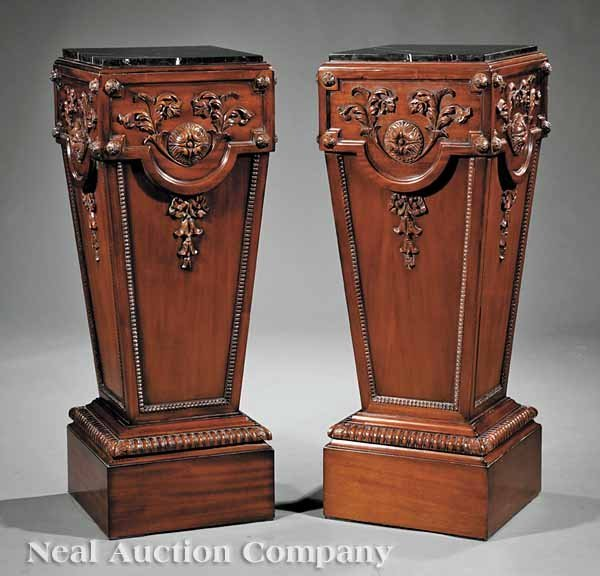 0003: A Pair of Neoclassical-Style Mahogany Pedestals
