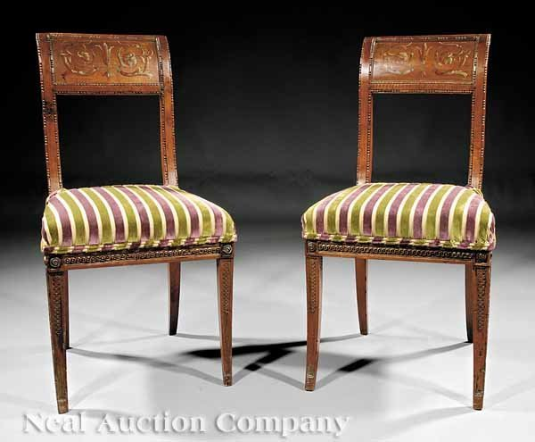 0011: Pair of Italian Classical Walnut Side Chairs