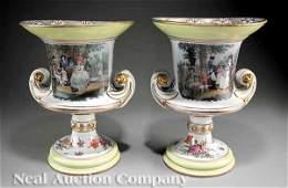 0081: A Pair of Meissen Porcelain Urns