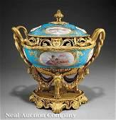 0087: A Sevres-Style Bleu Celeste Porcelain Centerpiece