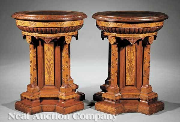 0134: Pair of Modern Gothic Pedestals, attr. to Pabst